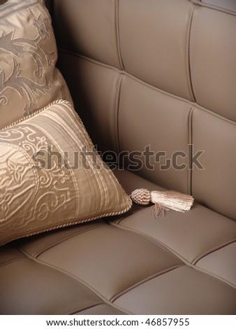 pillow lying on the sofa - stock photo