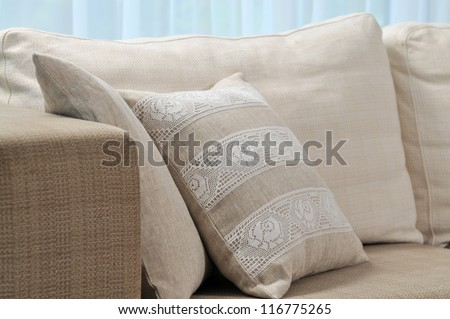Pillow on sofa - stock photo