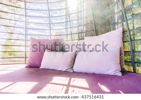 Pillow on sofa decoration in living room interior - Vintage light Filter - stock photo