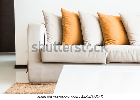 Pillow on sofa decoration interior of living room with table light lamp