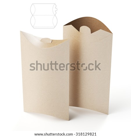 Pillow Package for Food with Die Line Template - stock photo
