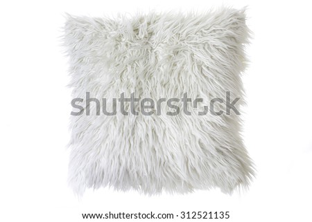 pillow with white fur cover - stock photo