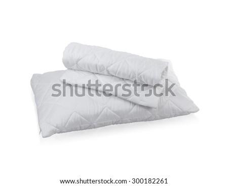 pillow with white protective mite pillow case on white background - stock photo