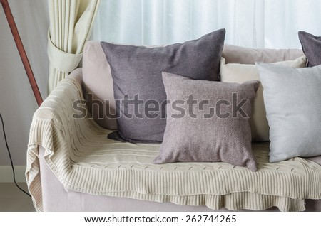 pillows and blanket on earth tone sofa in living room