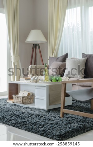 pillows and blanket on earth tone sofa with wooden lamp in living room - stock photo