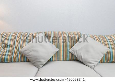 pillows on sofa furniture  - stock photo