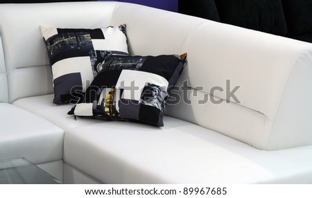 Pillows on the furniture. Cushions on the living room furniture. - stock photo