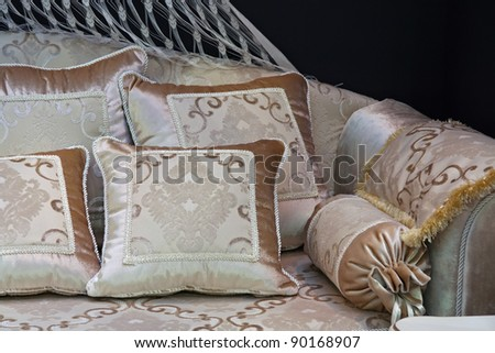 Pillows on the sofa. Decoration cushions on the modern style furniture. - stock photo