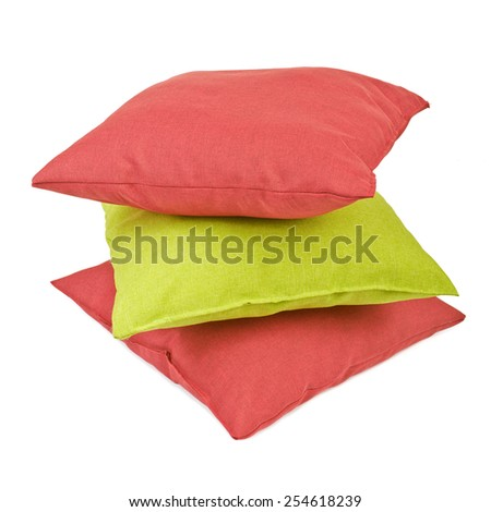 Pillows or cushions isolated on white background