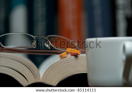 Pills and caffeine to study. Substances and methods people use for a mental edge - stock photo