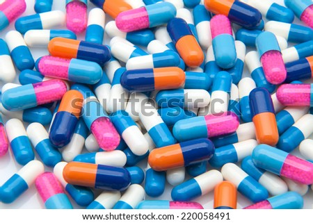 pills and capsules medical colors - stock photo