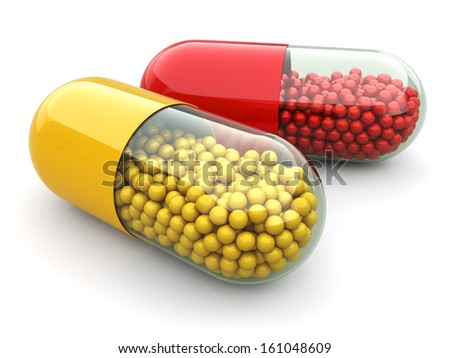 Pills and drugs on white isolated bacground. Medical concept. 3d - stock photo