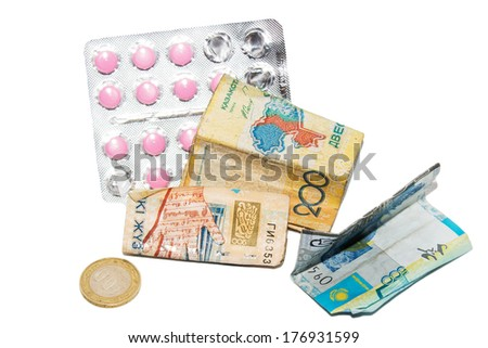 pills and money background