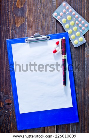 pills and note - stock photo