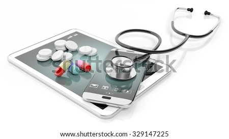 Pills and stethoscope on smartphone and tablet, isolated on white background. - stock photo