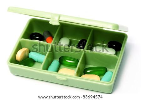 Pills box - Medical prescription - stock photo