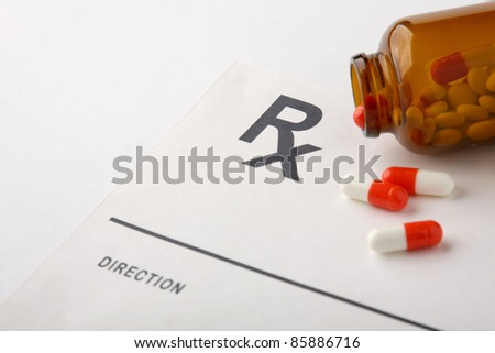 Pills, capsules and Rx - stock photo