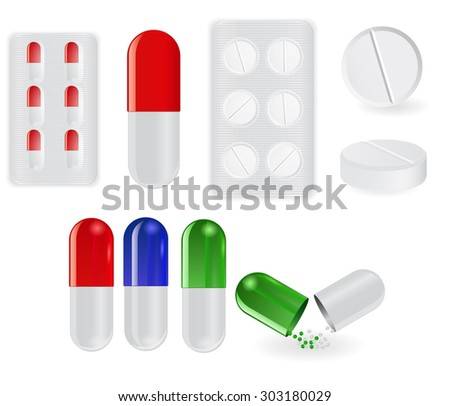 Pills - capsules and white tablets.  isolated on white background. Raster version