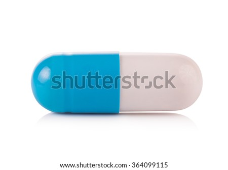 pills capsules isolated on white background - stock photo