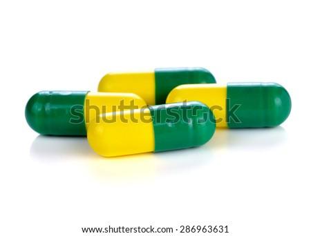 pills capsules on white background - stock photo