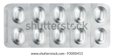 Pills in a blister pack on a white background - stock photo