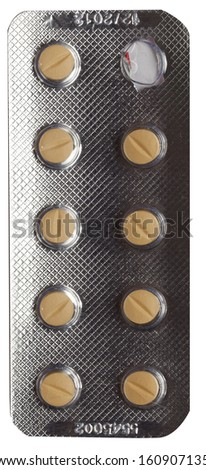 Pills in blister isolated against on background  - stock photo