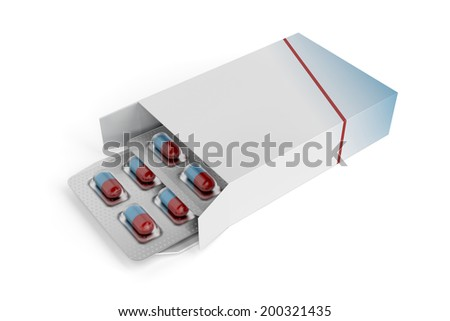 Pills in box on white background - stock photo