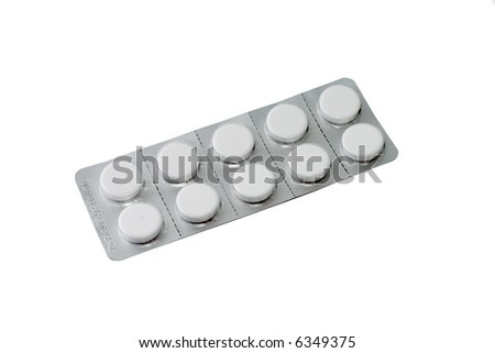 Pills in packing isolated on a white background