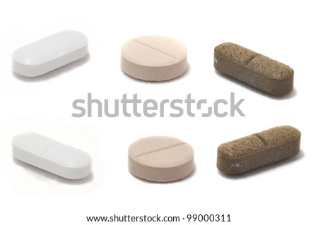 pills isolated on white background taken from different angles - stock photo