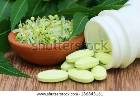 Pills made from medicinal neem leaves and flower - stock photo