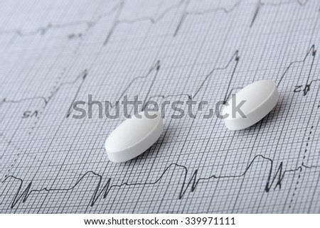 pills on a heart graph - stock photo