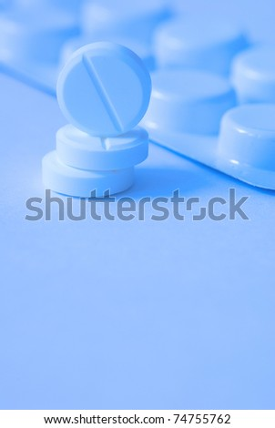 pills on a white background, close-up - stock photo