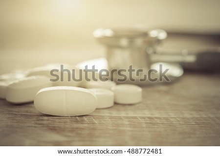 Pills on the table. Concept of Health, selected focus.
