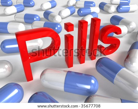 "pills on white background with text ""Pills"""