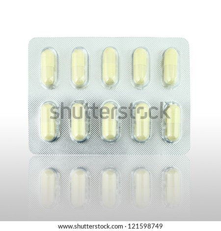pills pack with shadow - stock photo