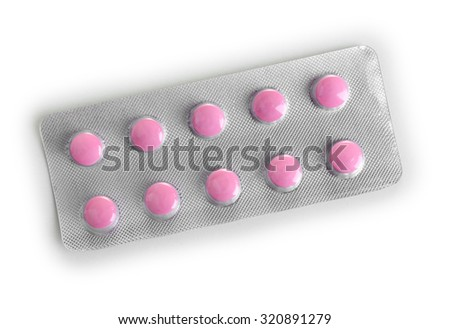 Pills packed in blister isolated on white
