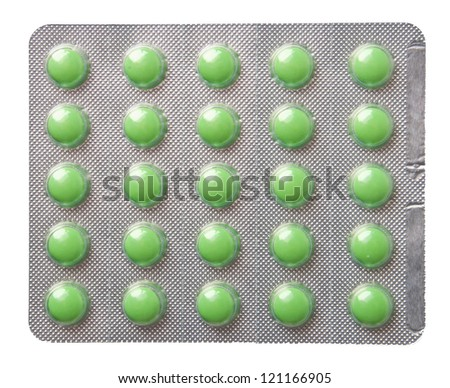 pills packed in blisters isolated on white background - stock photo