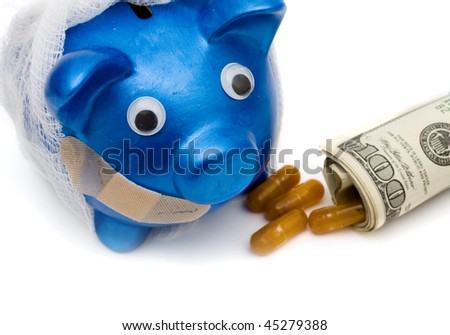 Pills with a rolled up one hundred dollar bill isolated on a white background, medication costs - stock photo