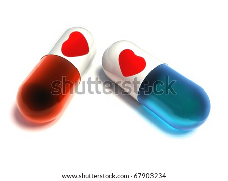 pills with heart - stock photo