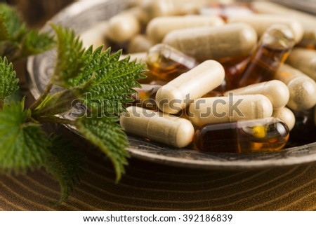 pills with herbs, macro