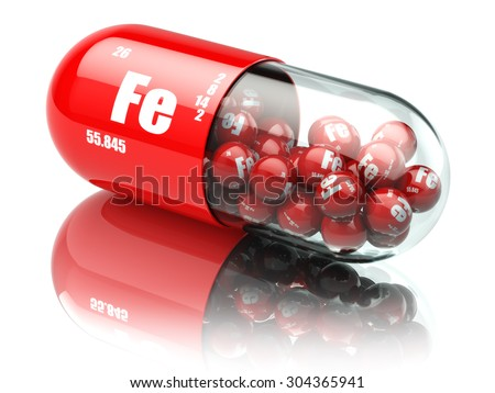 Pills with iron FE element Dietary supplements. Vitamin capsules. 3d - stock photo