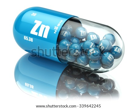 Pills with zinc Zn element Dietary supplements. Vitamin capsules. 3d - stock photo