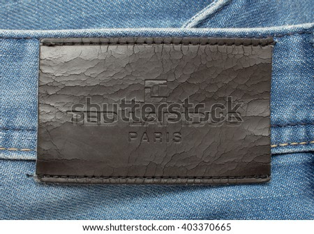 PILOS, GREECE APR 10, 2016 TED LAPIDUS Leather jeans label sewed on jeans. - stock photo