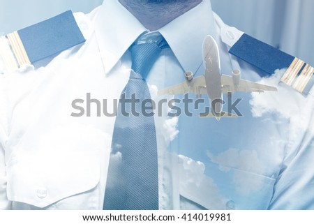 pilot and plane in the double exposure