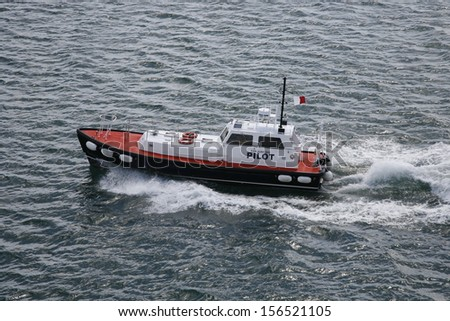 Pilot boat at St. Thomas in US Virgin Islands - stock photo