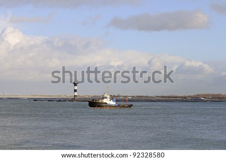 pilot boat in the harbor of rotterdam