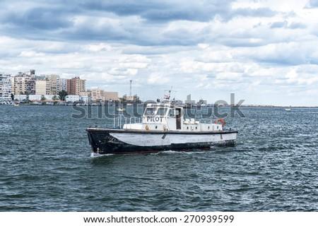 Pilot Boat,Port Said,Egypt - stock photo
