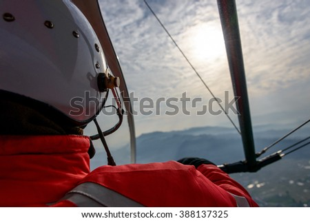 Pilot flying an ultralight in Nepal - stock photo