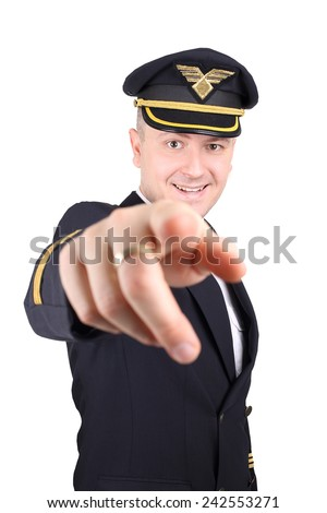 Pilot invites you for a flying lessons - stock photo