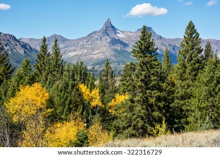 Pilot Peak along the Beartooth Highway in Wyoming. - stock photo